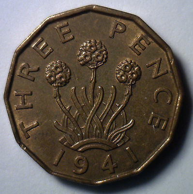 1941 Brass 3 Pence UK Britian Threepence Coin YG English