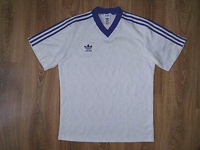 Adidas 80s very rare vintage white blue made in Bulgarien shirt size M