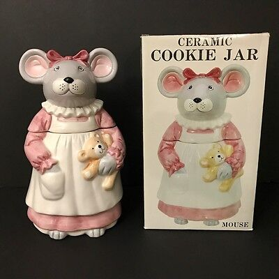 Vintage Ceramic Cookie Jar Mouse w/ Teddy Bear Pink Dress Apron in Box Daytons