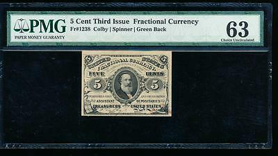 AC Fr 1238 $0.05 1863 fractional 3rd issue no surcharges PMG 63 comment