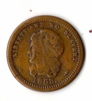 1863 Anti-Slavery Abolition Civil War Token Crossed Flags