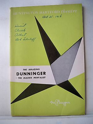 THE AMAZING DUNNINGER - THE MASTER MENTALIST Playbill LOS ANGELES, CA 1956