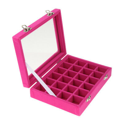 24 Compartments Velvet Jewelry Display Box Rings Nails Necklace Storage Case