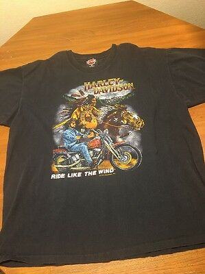 Vintage Harley Davidson Ride Like The Wind 1991 T Tee Shirt XL Black Cotton