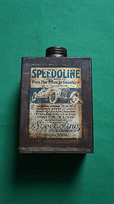 Vintage Speedoline Gasoline Oil Can Metal Tin