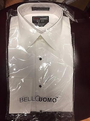 NEW Mens White Laydown Collar French Cuff Tux Shirt Plain Flat Front ALL SIZES