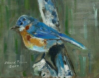 Art Bird oil Painting 8x10 Canvas Panel  Signed and Dated by Artist Kevin Picou