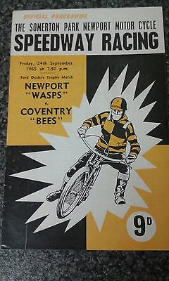 speedway programme 1965  NEWPORT  v  COVENTRY  ( UN filled )