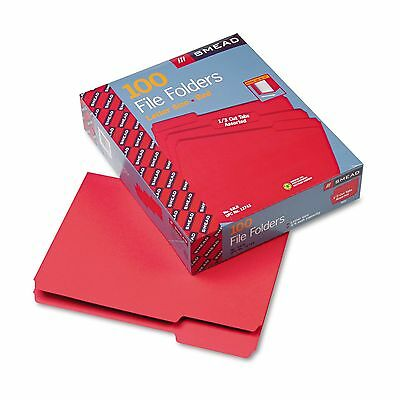 SMEAD 12743 1/3 Top TAB COLOR File FOLDERS * RED * Letter Size * 100 COUNT