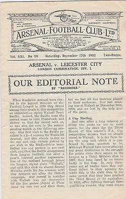 Arsenal v Leicester 17/12/1932 London Combination (Reserves) Result 10-1