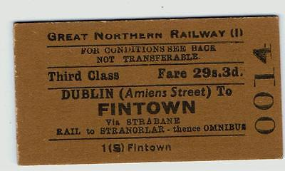Railway Tickets Ireland, GNR(I), Dublin (Amiens Street) to Fintown (Co. Donegal)