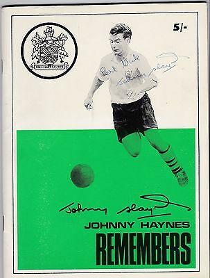 Johnny Haynes. April1969 Testimonial Brochure, Original Autograph on cover