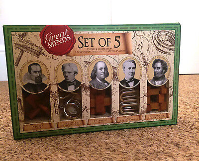Great Minds Set of 5: Puzzle Compendium  - 3 x Wooden and 2 x Metal Puzzles