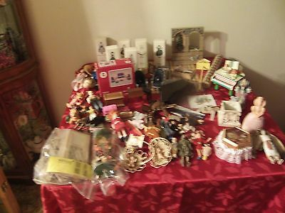 Huge Lot Of Dollhouse Miniatures Furniture. DOLLS, ALL SIZES SO MUCH