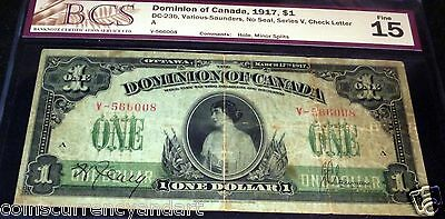 BEAUTIFUL  Dominion of Canada PRINCESS PATRICIA LARGE BANKNOTE 1917 $1. BCS 15