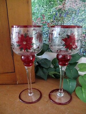 Yankee Candle Crackle Glass Large Stem Votives ~ Two ~ Poinsettias