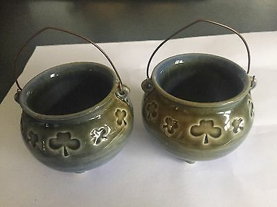 2  Crock Pot Ornaments Made In Ireland By Wade