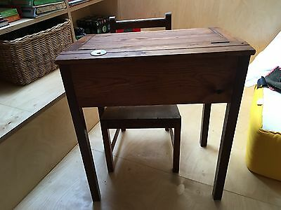 Antique handmade wooden primary school desk and chair
