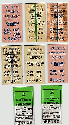 Railway Tickets Italy, 8 No. South Tyrol Region, Dual Language,Bolzano/Bozen Etc