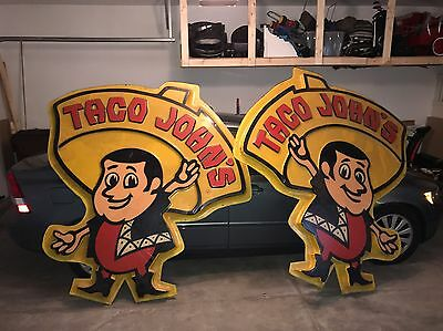 Vintage Taco John's Store Sign 2 Sides Sided 1970's HUGE Advertising Retro