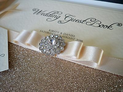 LUXURY PERSONALISED WEDDING GUEST BOOK ( Vienna )  Any Colour Satin Ribbon
