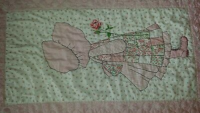 Holly Hobbie Vintage Pink Floral Twin Bed Cover Blanket Lace quilt wall hanging
