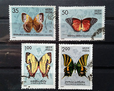INDIA - 1981 - Butterflies - Full set of 4 Used