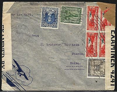 Guatemala 1942 Cover W Triple Censors Us Great Britain & Germany 2 Scans