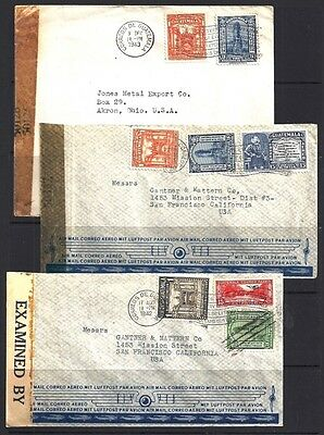 Guatemala 1942-4 3 Diff Type Censor Covers To United States
