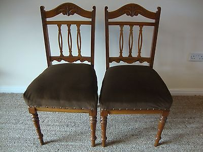 Antique Edwardian Carved Dining Chairs Set of Two