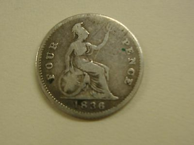 King William IV 1836 Four Pence (Groat) Coin
