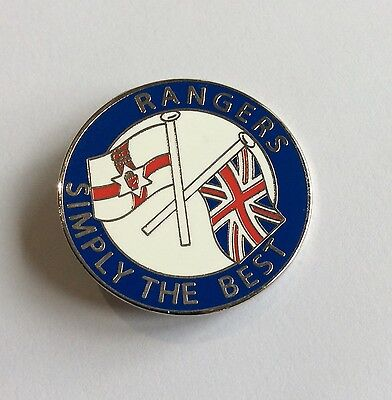 """Rangers Football Club Badge FC Enamel SUPPORTERS """"SIMPLY THE BEST"""" Large Pin"""