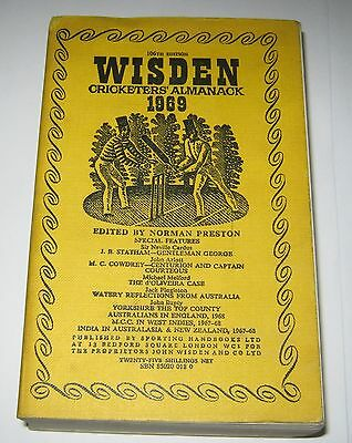 1969 Wisden Cricketers' Almanack - Softcover Edition - Limp Cloth Cover Yearbook