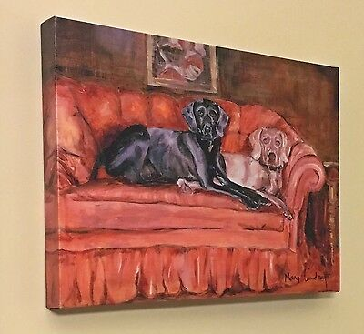 Labrador Labs Dogs Print Of A Mary Lindsey Painting 12x16 Canvas Picture