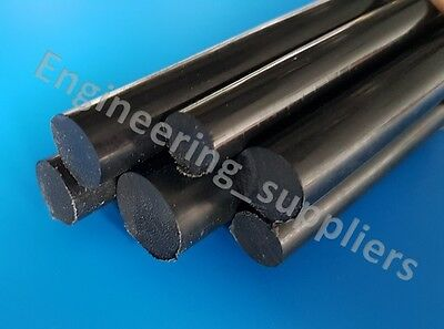 Black Plastic Nylon Rod Round Bar 10, 12, 16 & 20 mm Diameter 100mm - 600mm long