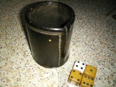 VINTAGE Leather Stitched Dice Cup Shaker WITH 4 DICE