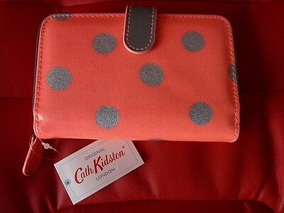 BRAND NEW WITH TAGS Cath Kidston Button Spot Neon Pink Folded Zip Purse / Wallet
