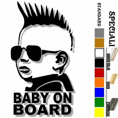 adesivo sticker Punk BABY ON BOARD bimbo bebè a bordo personalizzabile