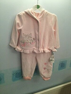 ASDA Baby Girl Suit 9-12 Mths BNWT Pale Pink Soft Velour Jacket &Trousers Bambi