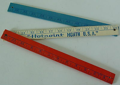 Vintage Advertising Ruler Hotpoint Month USA Yards Appliance Red White Blue