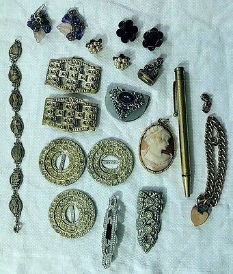 Antique Vintage Brooch Earrings Cameo 9ct Rolled Gold Bracelet Fob Charm. Joblot