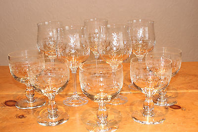 Decorative Hand Etched Wine Glasses