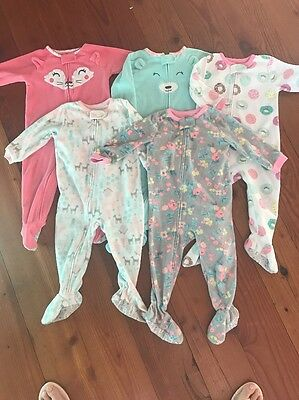 Lot Of 5 Girls 18 Month Carters Fleece Pajamas Pre-Owned