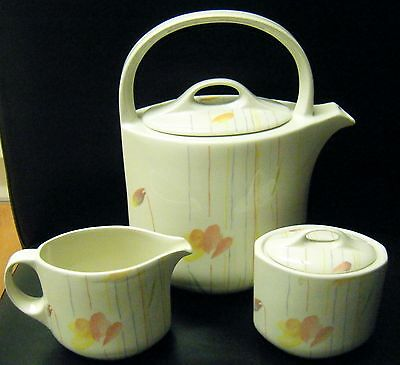 Midwinter Style Calypso Tea Pot Milk Jug & Lidded Sugar Bowl