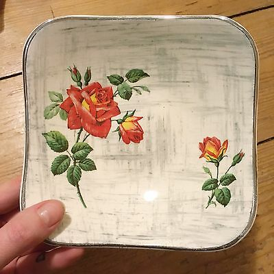 Midwinter Stylecraft Staffordshire Fashion Pottery Red Rose Trinket Dish Plate