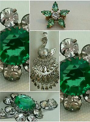 Job Lot Vintage Green & White Crystal Stone Gold Gult. Silver Pendant. Brooches