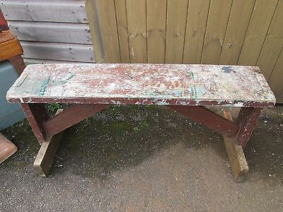 Rustic Wooden Artists Trestle Bench Seat Stool Suit Hallway Kitchen Side Table