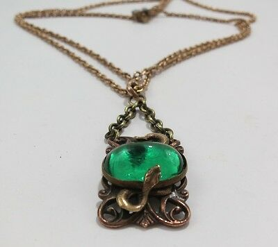 Vintage Gold Filled Watch Chain w/Slide and Striking Green Glass Fob with Snakes