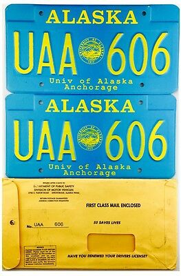 NOS IN SLEEVE University Of Alaska Anchorage License Plate PAIR #606