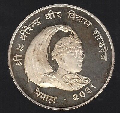 1974 Nepal 25 Rupees Peacock  Silver Proof Coin !!!